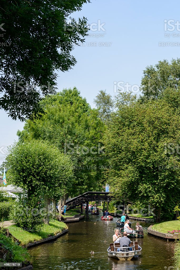 Tourists in Giethoorn royalty-free stock photo