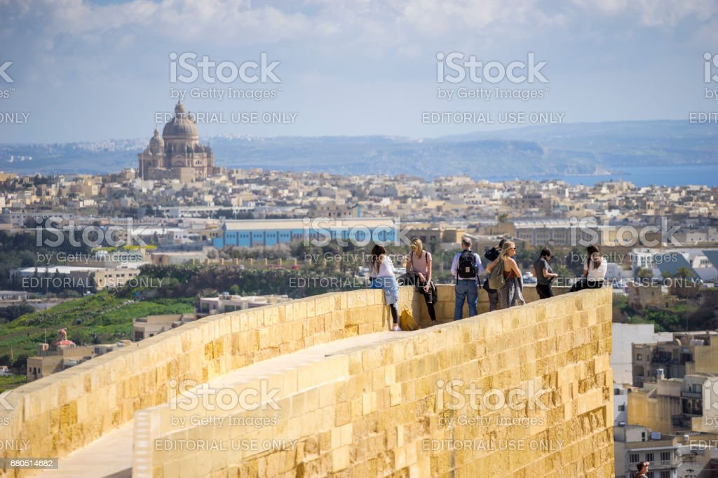 Tourists in Gozo, Malta stock photo