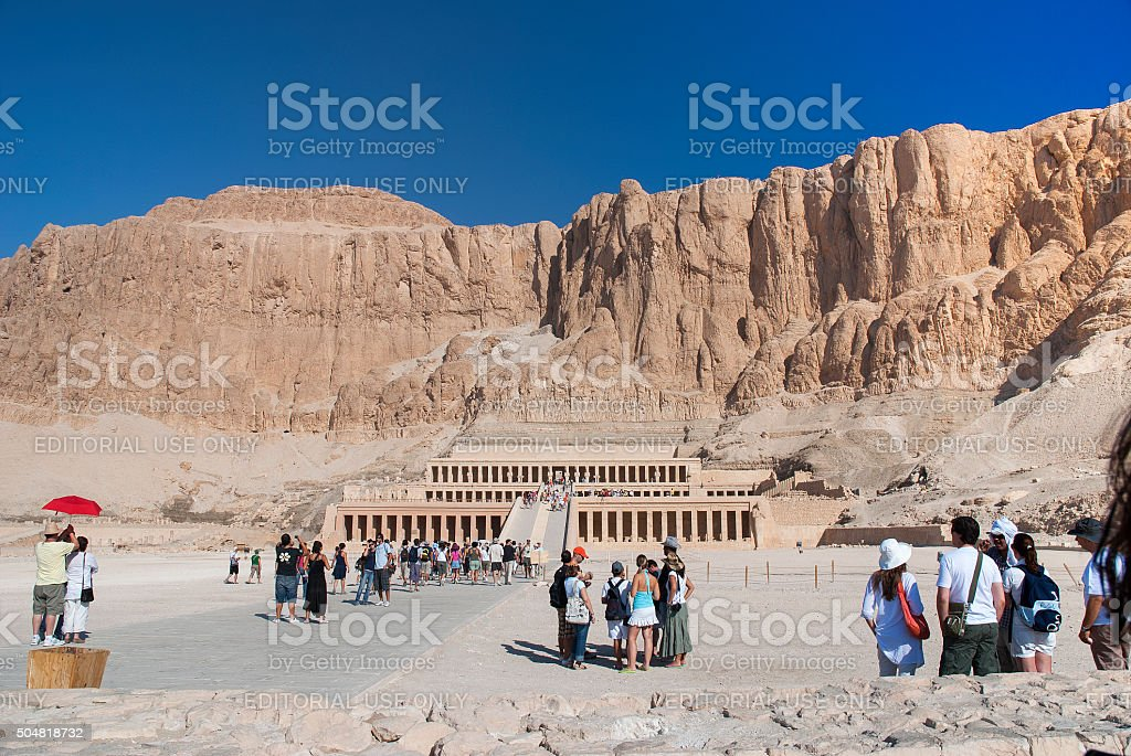 Tourists in  Hatshepsut stock photo