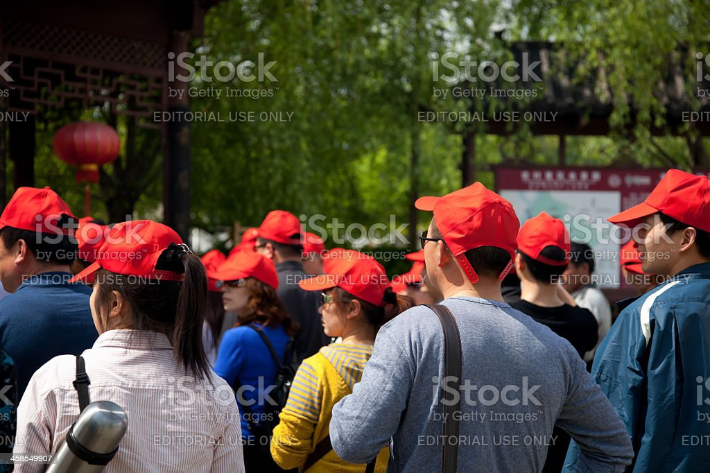 Tourists in Hongcun Village, Anhui Province, China stock photo