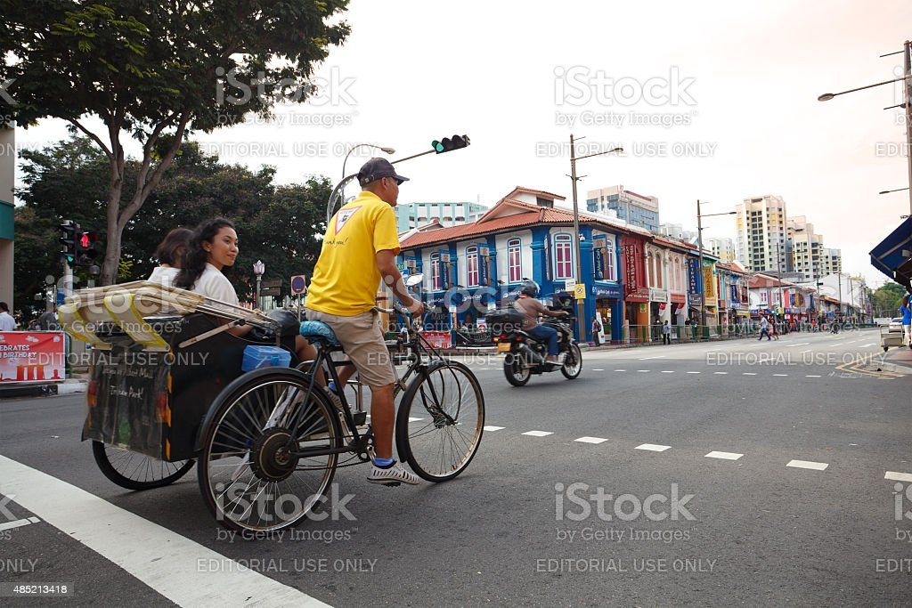 Tourists in Little India, Singapore stock photo