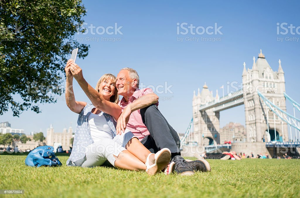 Tourists in London taking a selfie stock photo