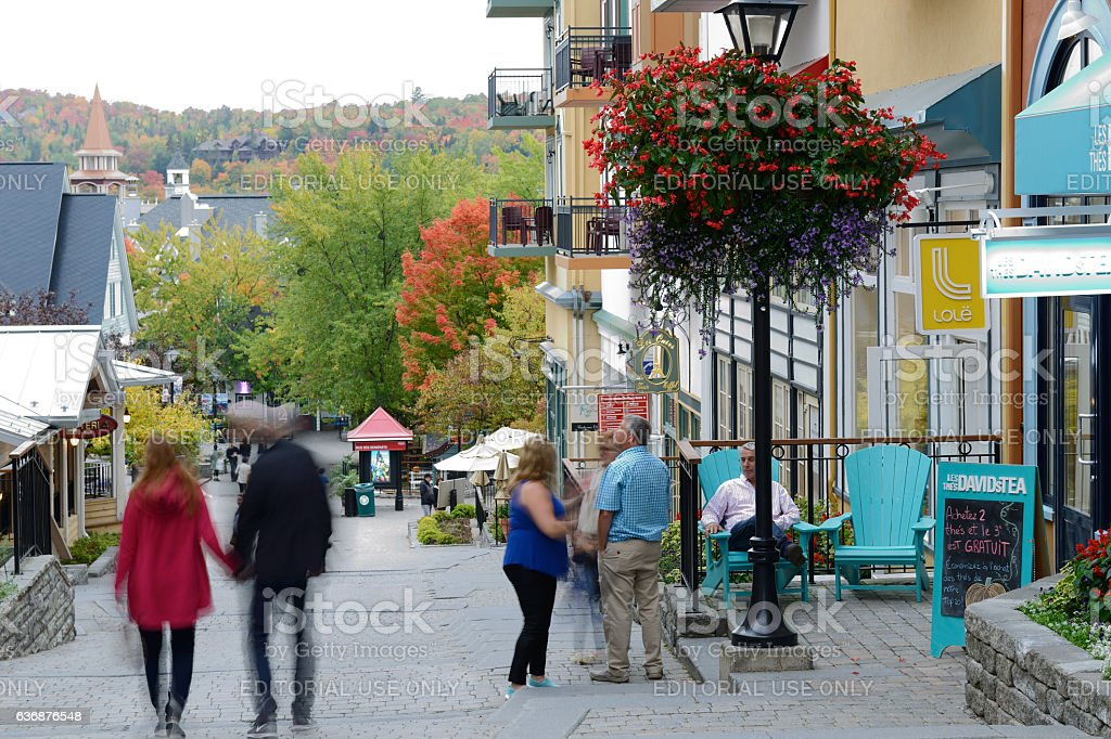 Tourists in Mont Tremblant resort village stock photo
