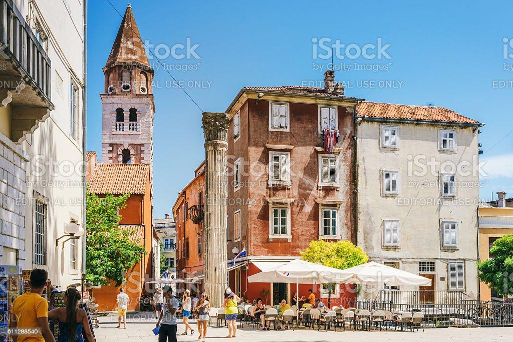 Tourists in old town of Zadar, Croatia stock photo