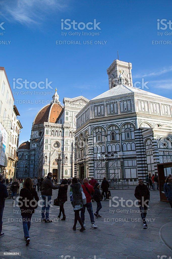 Tourists in Piazza Del Duomo stock photo