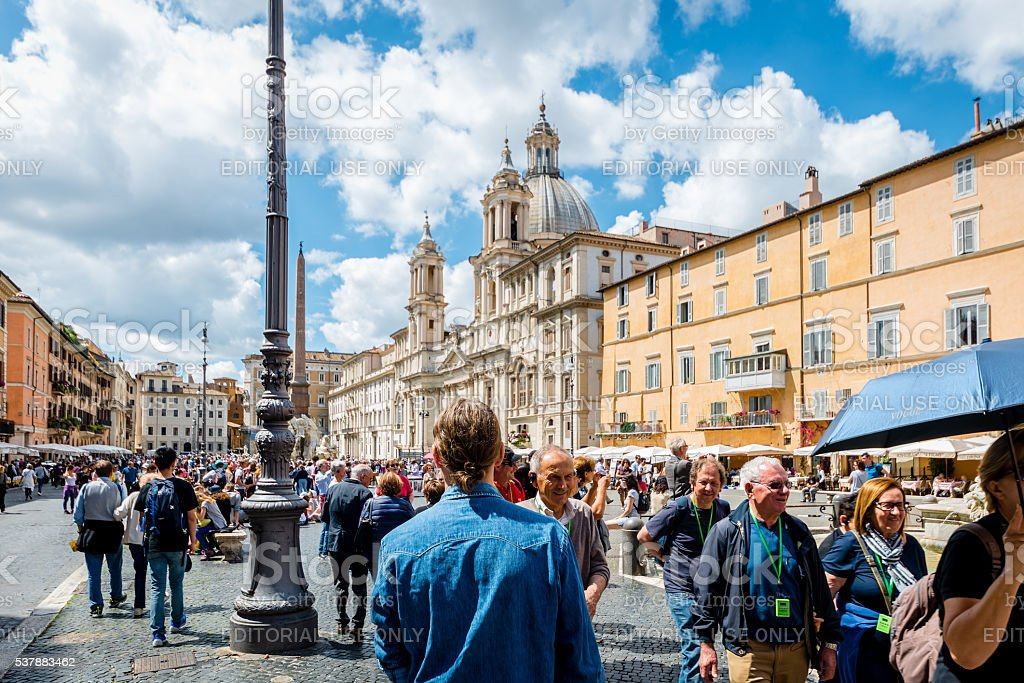 Tourists in Piazza Navona, Rome stock photo