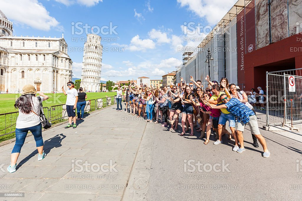 Tourists in Pisa stock photo