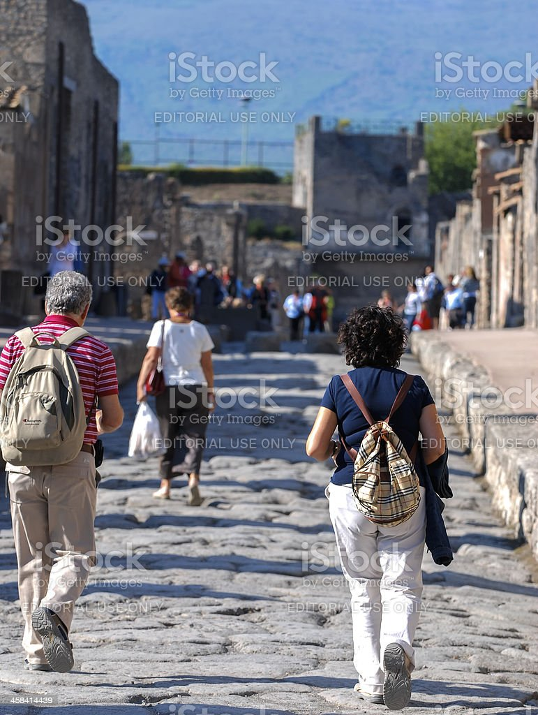 Tourists in Pompeii royalty-free stock photo