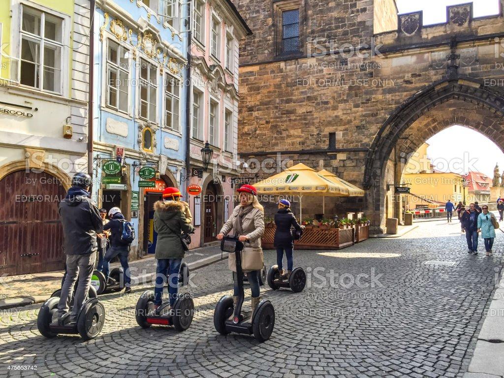 Tourists in Prague, Czech Republic stock photo
