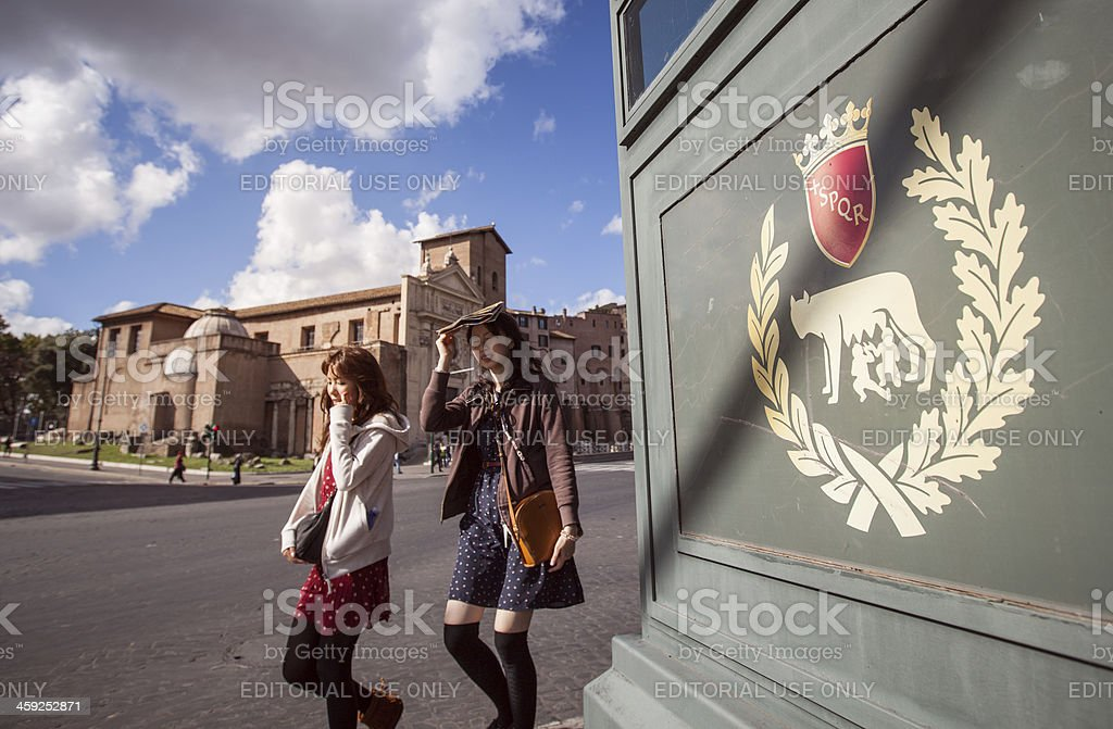 Tourists in Rome stock photo