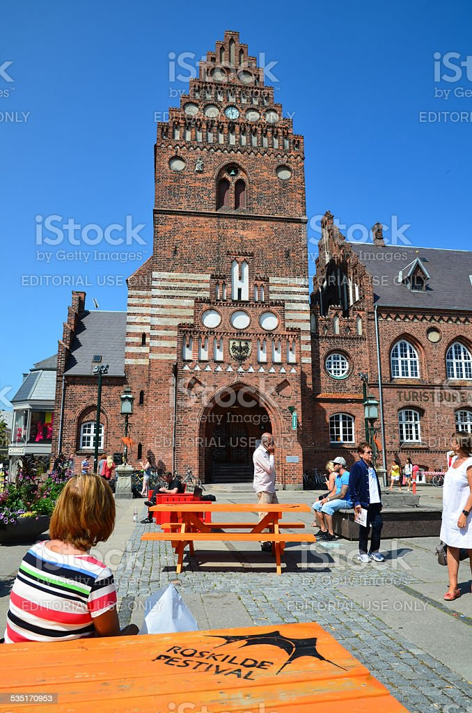 Tourists in Roskilde stock photo