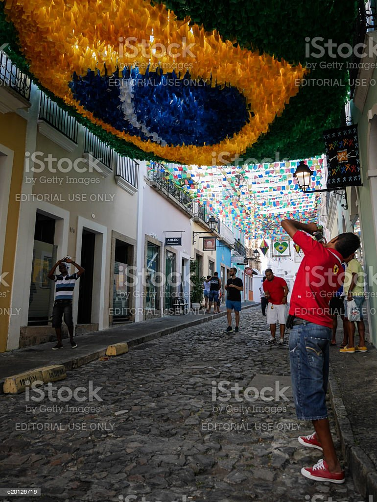 Tourists in Salvador, Brazil stock photo