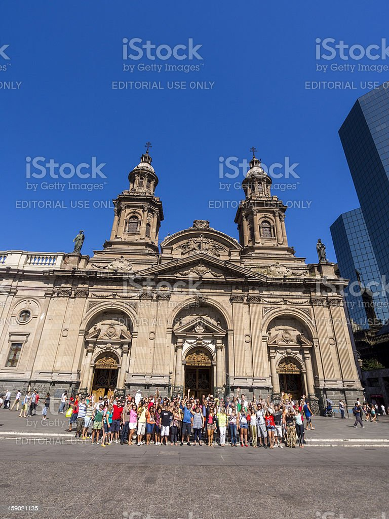 Tourists in Santiago, Chile stock photo