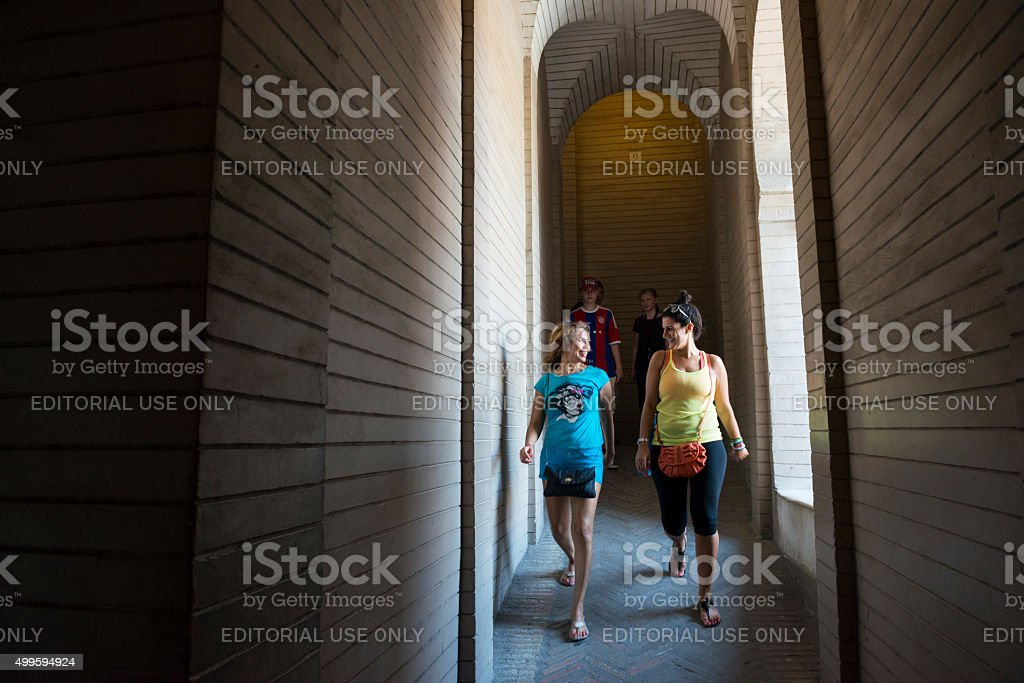 Tourists in Seville Cathedral bell tower stock photo