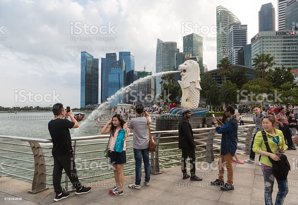 Tourists in Singapore stock photo