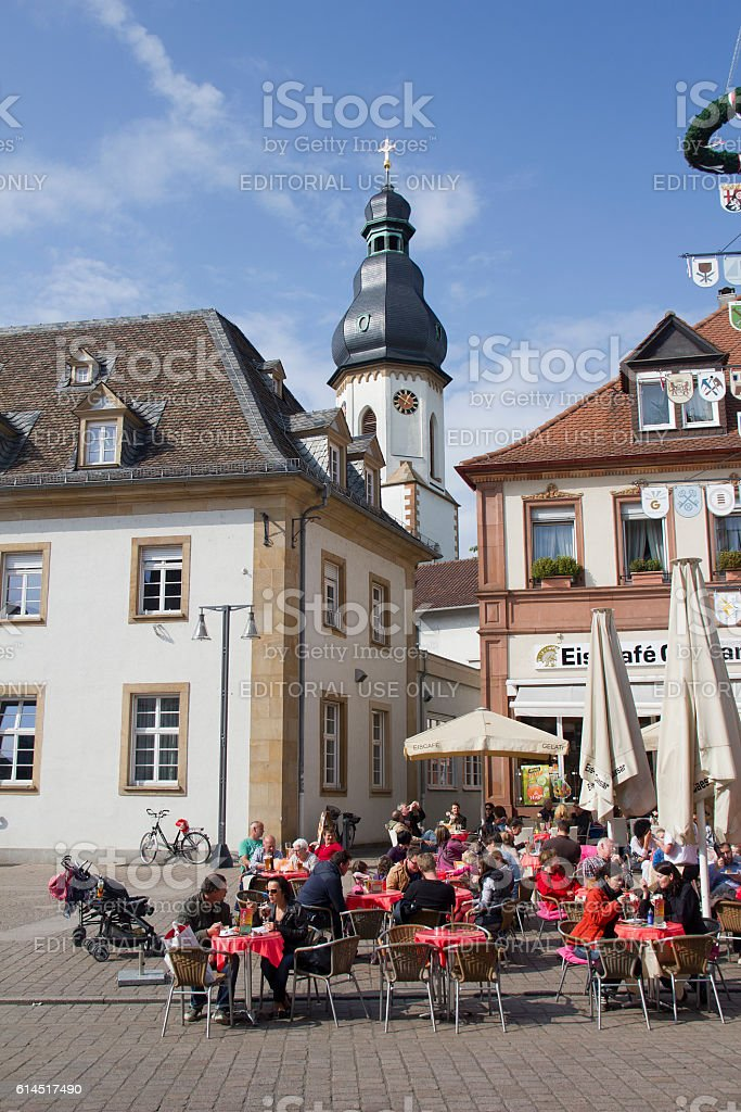 Tourists in Speyer, Germany stock photo