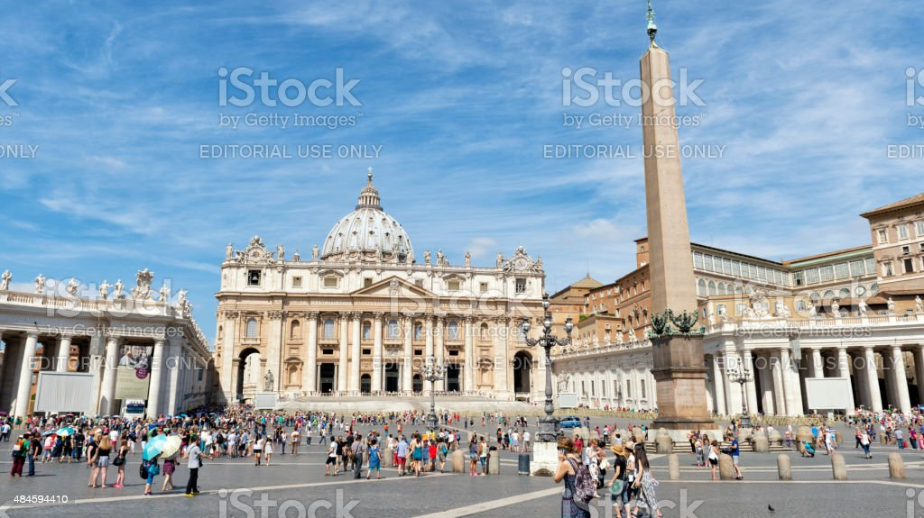 Tourists in St. Peter's Square, Vatican stock photo