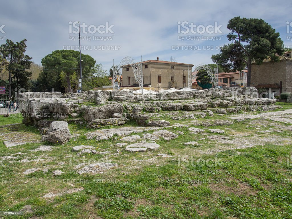 Tourists in the Archaeological site of Paestum stock photo
