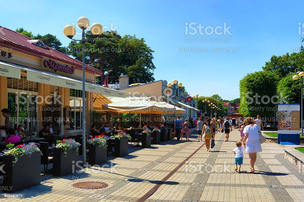 Tourists in the central street. Jurmala stock photo