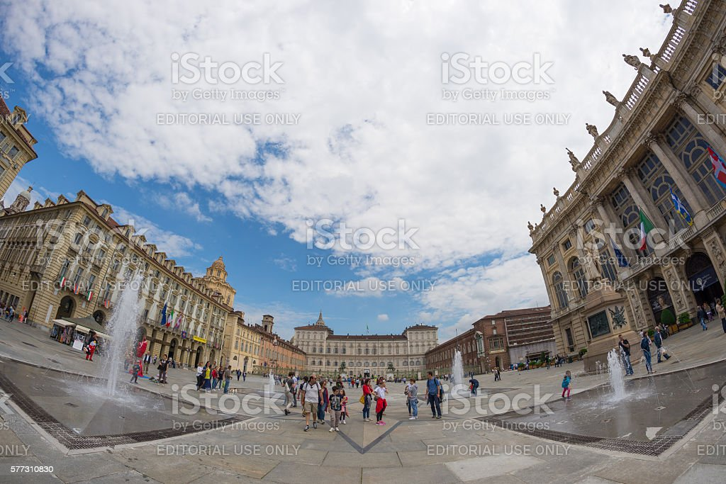 Tourists in the centre of Turin, Italy - fisheye view stock photo