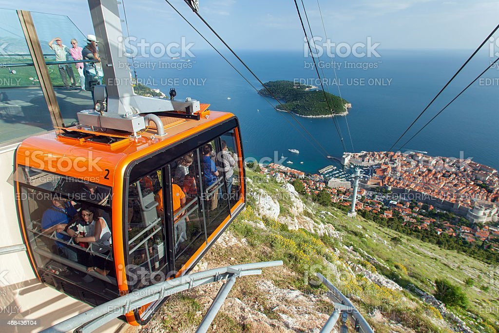 Tourists in the Dubrovnik cable car stock photo