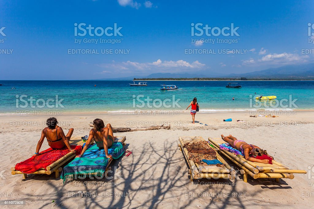 Tourists in the Gili Islands in Lombok, Indonesia stock photo