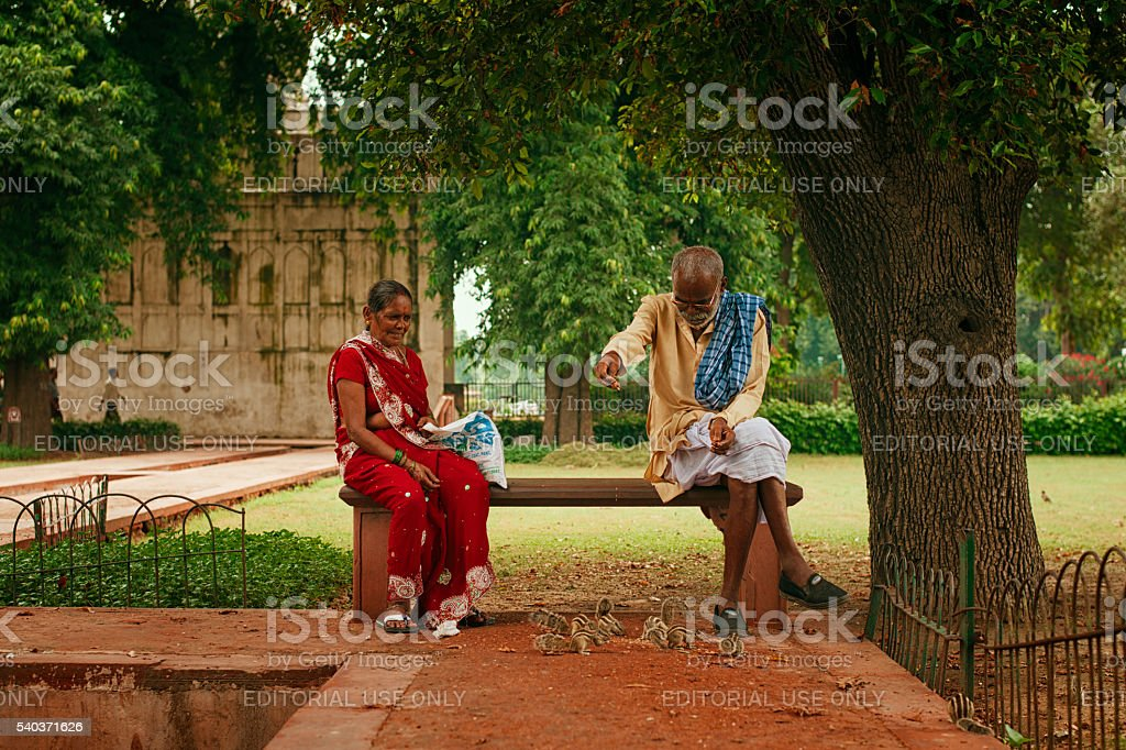 tourists in the Indian Red Fort stock photo