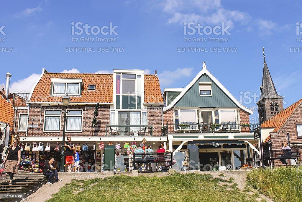 Tourists in the port  Volendam. Netherlands stock photo
