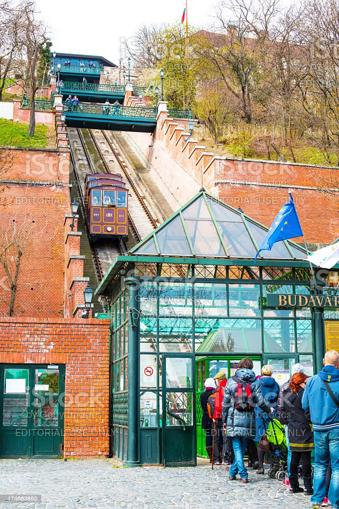 Tourists in the queue waiting for Gellert cable car, Budapest stock photo