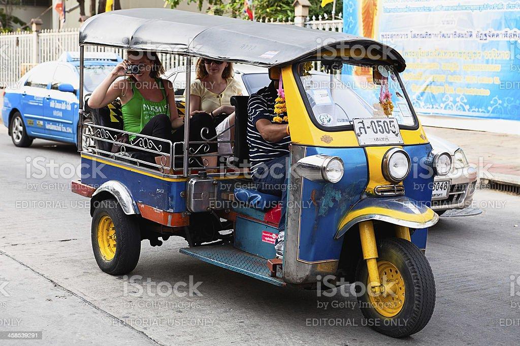 Tourists in tuktuk royalty-free stock photo