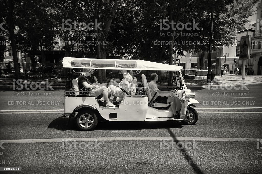 Tourists in Tuk-Tuk stock photo