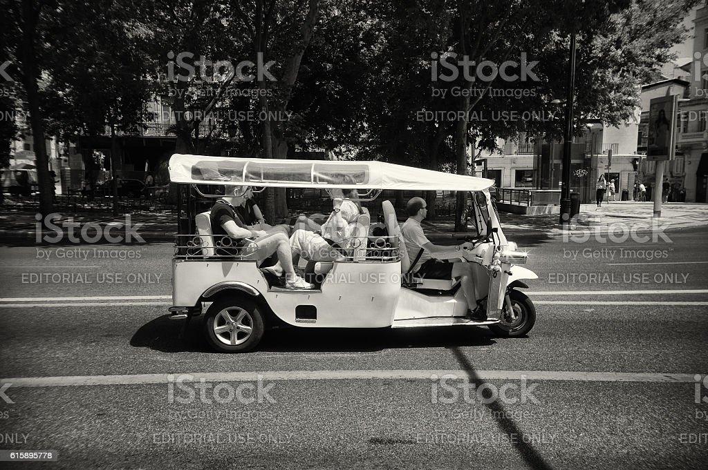 Tourists in Tuk-Tuk stock photo