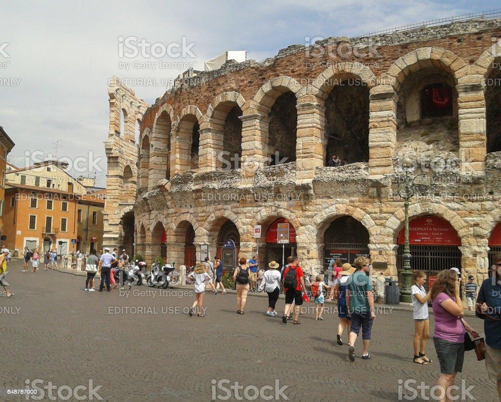 Tourists in Verona stock photo