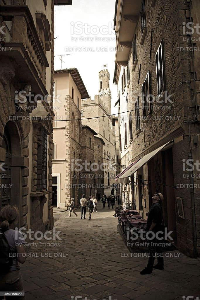Tourists in Volterra stock photo