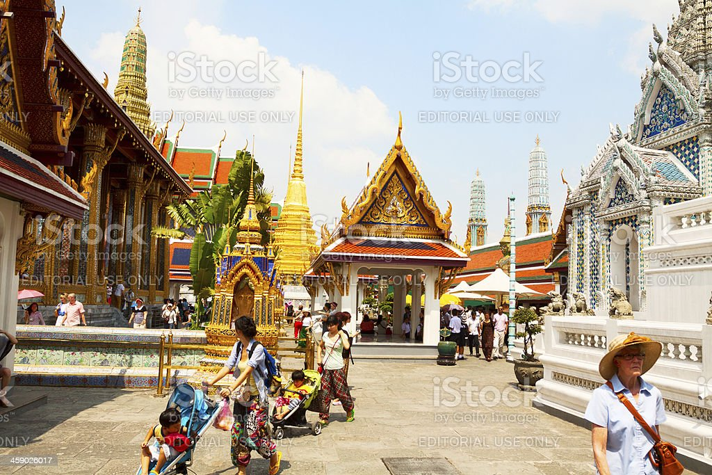Tourists in Wat Phra Kaeo royalty-free stock photo