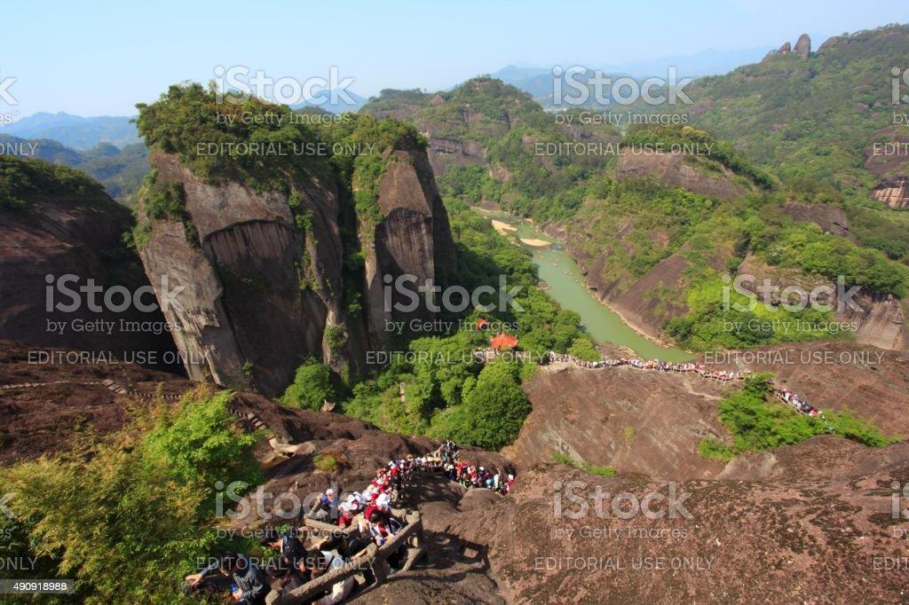 Tourists in Wuyi mountain 01 stock photo