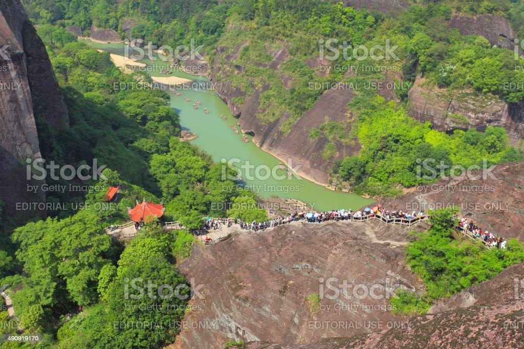 Tourists in Wuyi mountain 02 stock photo