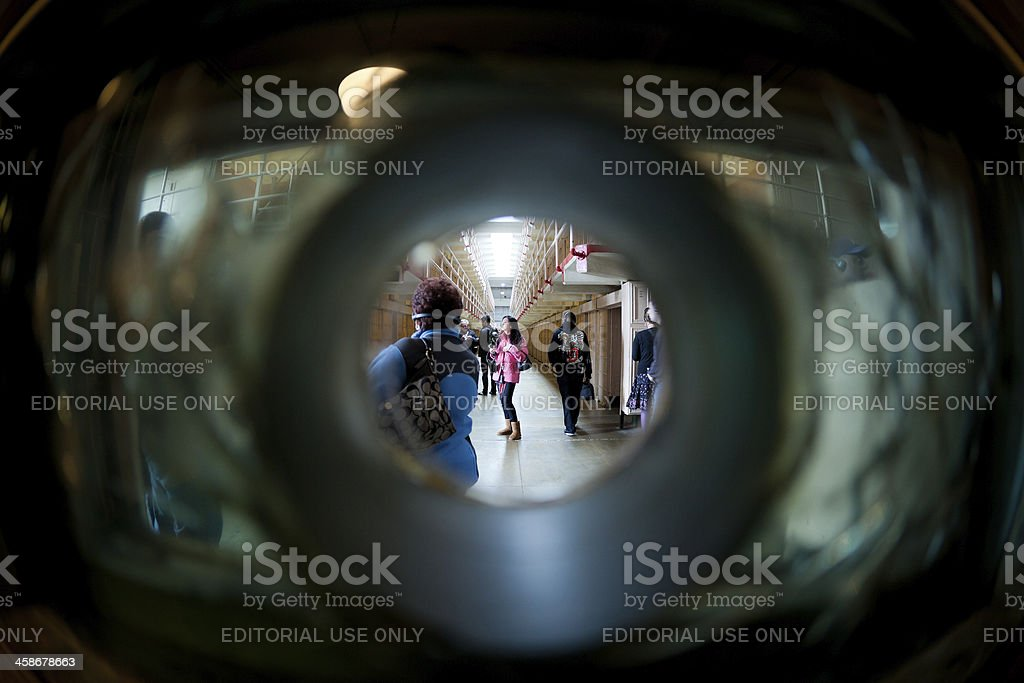 Tourists inside of the Alcatraz Penitentiary stock photo