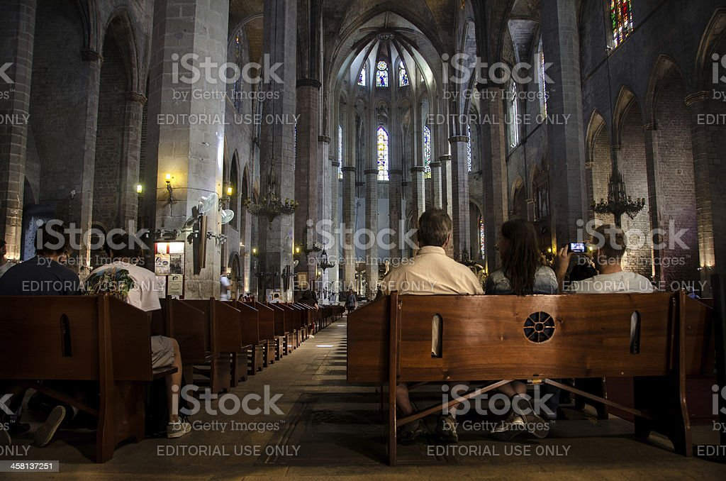 Tourists inside Santa Maria del Mar Barcelona stock photo