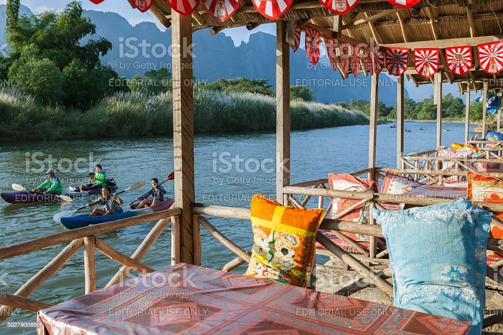 Tourists kayaking in Vang Vieng stock photo