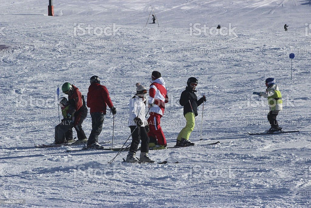 Tourists learning how to skiing at ski station CERRO CATEDRAL stock photo