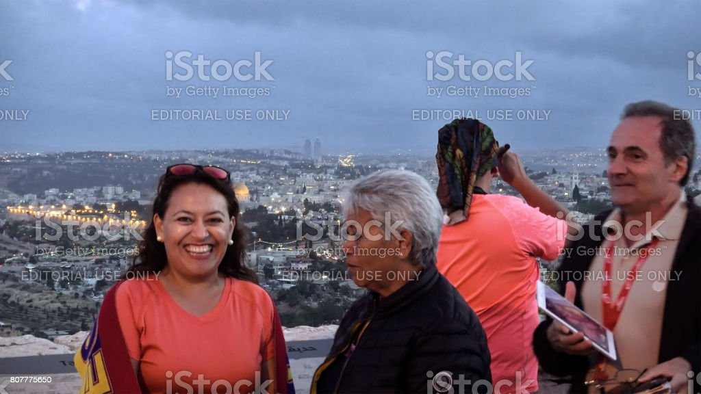 Tourists look at the Jerusalem Old City view stock photo