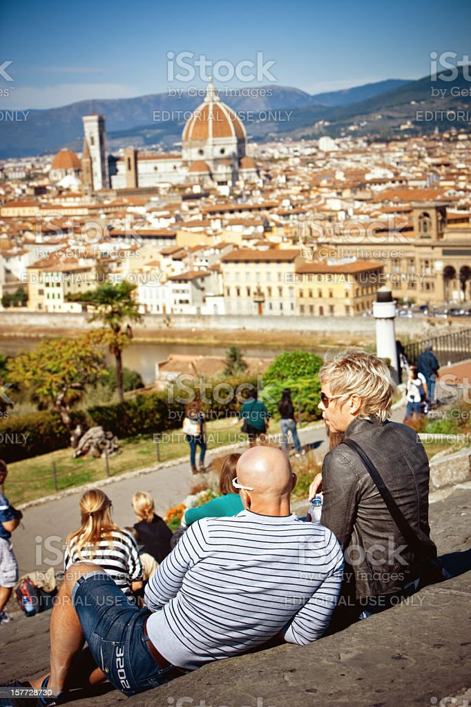 Tourists looking at Florence from  Piazzale Michelangelo, Floren stock photo