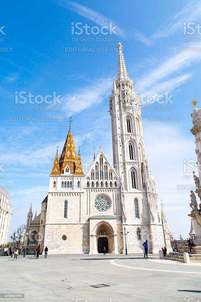 Tourists near Catholic Matthias Church, landmark of Budapest stock photo