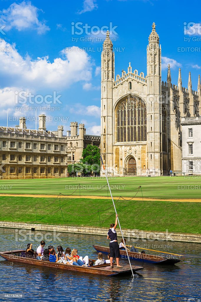 Tourists near Kings College in Cambridge University, England royalty-free stock photo