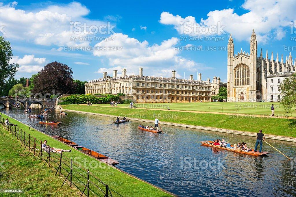 Tourists near Kings College in Cambridge University, England stock photo