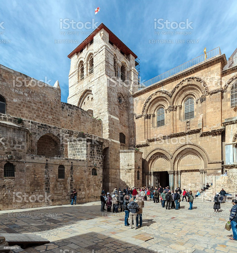 Tourists near main entrance of Holy Sepulchre Cathedral stock photo