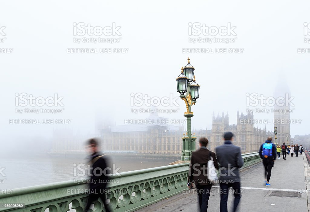 Tourists near Palace Of Westminster, London. stock photo