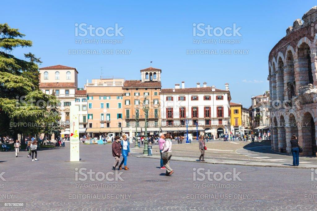 tourists near roman Arena on Piazza Bra in Verona stock photo