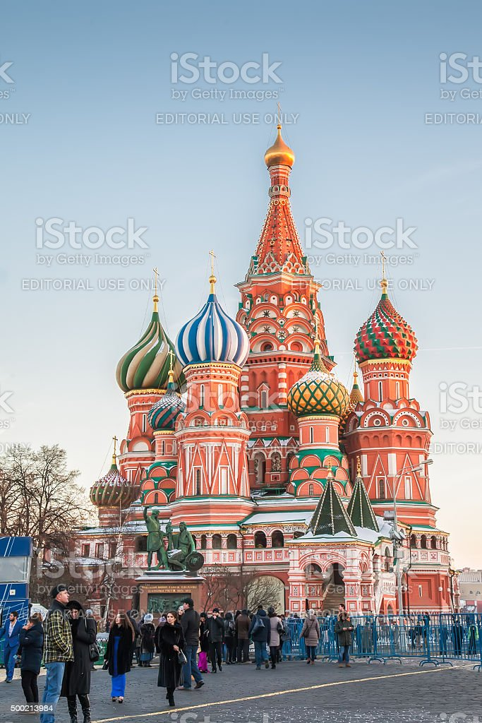 Tourists near Saint Basil's Cathedral on Red Square, Moscow stock photo